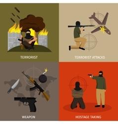 Terrorism Icon Flat Set vector image