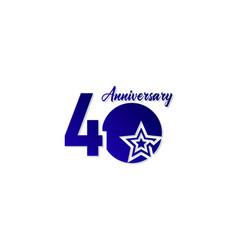 40 years anniversary celebration star blue logo vector