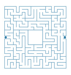 abstract complex square isolated labyrinth blue vector image