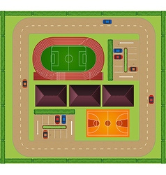 Aerial view of sporting facility vector