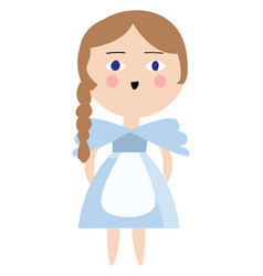alice in a blue dress color on white background vector image