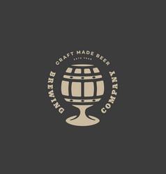 barrel glass beer logo vector image