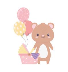 Bashower teddy bear pram balloons card cartoon vector