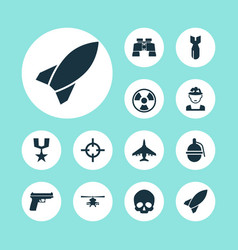 battle icons set collection of dangerous vector image