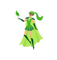 Beautiful eco superhero girl soar in air vector