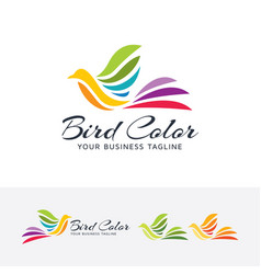 Bird color logo design vector