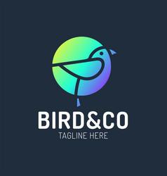 bird logo design with circle shape concept vector image