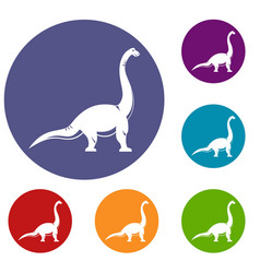 Brachiosaurus dinosaur icons set vector