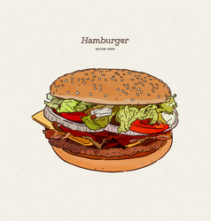 Burger with meat and cheese hand fast food vector