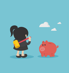 business woman are about to destroy his piggy bank vector image