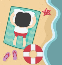 businessman relaxing on summer beach flat design vector image