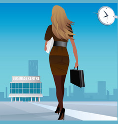 Businesswoman go to work in business center vector