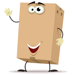 Cartoon cardboard delivery character vector