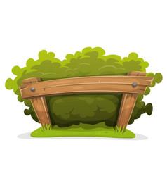 Cartoon hedge with wood barrier vector