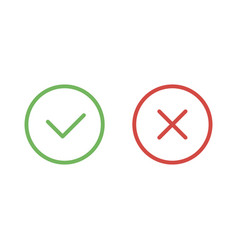 check mark green and red line icons vector image