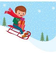 Child sledding vector image