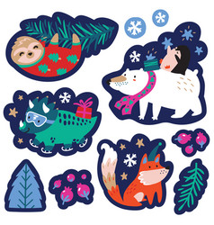 christmas set with cute animals labels emblems vector image