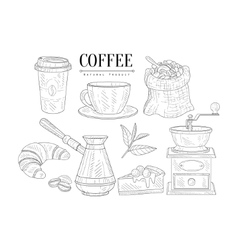 Coffee Related Object And Food Set Hand Drawn vector image