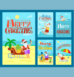 collection cards merry christmas with santa vector image