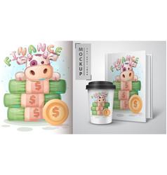 Cow money poster and merchandising vector