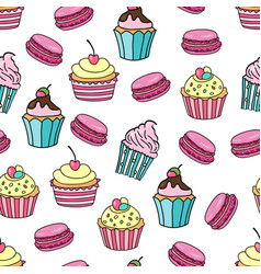 Cupcake and macaroon background seamless pattern vector