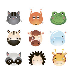 cute cartoon animals cat fox frog giraffe cow vector image