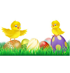 Cute yellow chicks on easter eggs vector