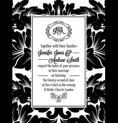 damask victorian brocade pattern invitation vector image vector image