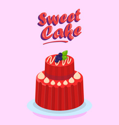 Delicious two tier cake flat cartoon vector