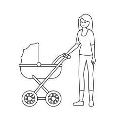 Design mother and pram symbol vector
