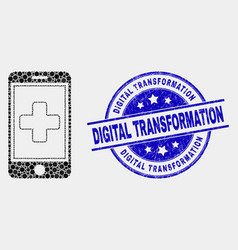 Dot medical mobile app icon and grunge vector