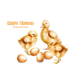 easter ducky and chicks watercolor card vector image