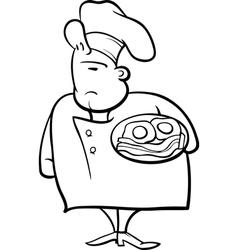 English chef cartoon coloring page vector