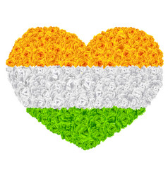 Flag india shape of heart flower garland mala vector