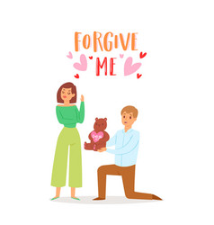 Forgive me concept with young couple angry woman vector