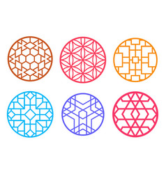 Geometric round chinese pattern window frame vector