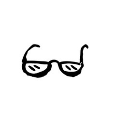 glasses grunge icon hand drawn vector image
