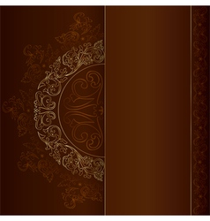 Gold vintage floral patterns on black vector image