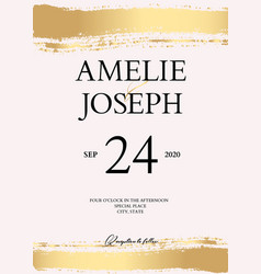 golden brush tender simple wedding card vector image