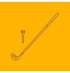 Golf club line icon vector