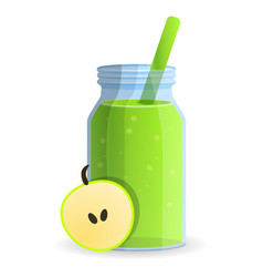 green apple smoothie bottle icon cartoon style vector image