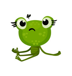 green cute frog sitting with sad face expression vector image