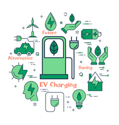 green ev charging concept vector image
