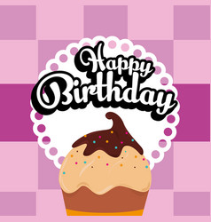 happy birthday cupcake card vector image