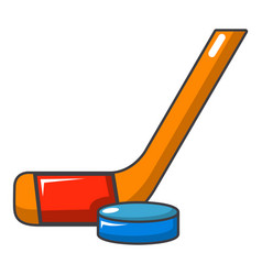 Hockey stick and puck icon cartoon style vector
