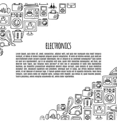 Home electronics sketch icons banner vector image