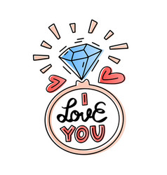 i love you lettering doodle quote with ring vector image