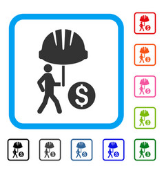 Industrial financial coverage framed icon vector