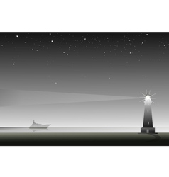 lighthouse at night vector image