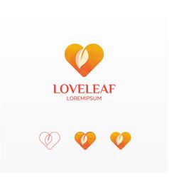 Love leaf gradient logo vector